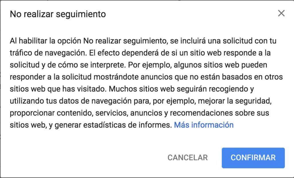 Confirmar Do Not Track Chrome